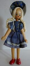 Vintage Wooden Jointed Peg Type Girl Doll With Braids & Hat Made In Poland