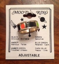 6mm Wedding Band Enamel Rasta Mood Ring Vintage 80s Made In USA Silver Plated