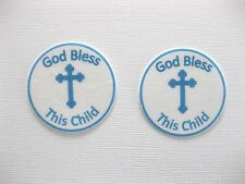 PRE CUT 12 EDIBLE RICE PAPER WAFER CARD BLUE CHRISTENING CROSS CUPCAKE TOPPERS