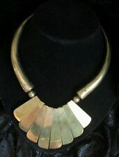 Vintage #Aztec Necklace Gold-tone #Tribal Bib Statement Choker Wood African Boho