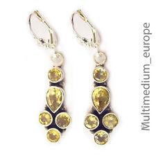 massive 925 Silber Ohrringe Citrin Ohrhänger silver earrings