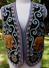 70s Carol Horn Workshop Mod Boho Vintage Elaborately Decorated Elephant Vest M-L