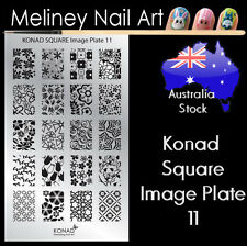 Konad Square Image Plate 11 for Stamping Nail Art Transfer Stencils Flower