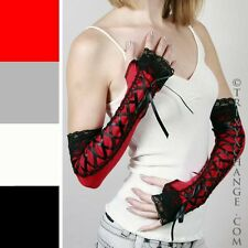 Black Corset Fingerless Gloves Red Lace Up Dress Dance Party Sexy Victorian 1038