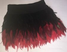 BEBE Addiction Red Black Ombre Dip Dye Fire Flame Ostrich Feathers Mini Skirt M