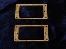 Set of 2 Humbucker Pick Up Mounting Rings Spalted Maple Wood 5/32ths thick #227