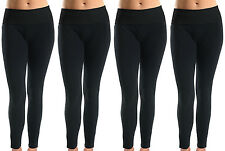 Lot of 4 Women Soft Cotton Spandex Yoga Sweat Lounge Gym Sports Pants Black L