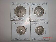 - GREECE - 4  OLD  PRE 'EURO'   COINS - 20,10,5X2 DRACHMAS - RARE-1982-1994# 5LZ