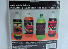 PACK OF 4 HALLOWEEN SOFT DRINK BOTTLE LABELS HORROR PARTY DECORATIONS