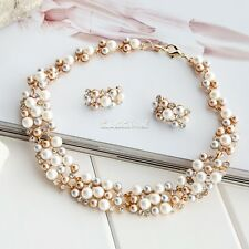 Fashion Wedding Bridal Diamante Jewellery Crystal Pearl Necklace and Earring Set