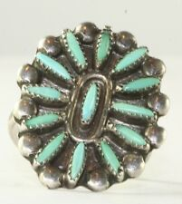 VTG EARLY 1960'S OLD PAWN STERLING SILVER TURQUOISE RING SIZE 9
