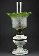 Antique 19th century MEISSEN porcelain oil lamp, kerosene lamp, handpainted bird