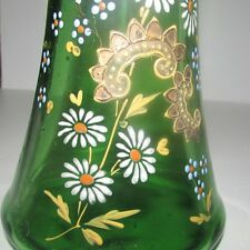 Bohemian Hand Painted Enameled Green Glass Vase Gold Gilding Flowers Victorian