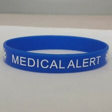 Blue Medical Alert 'Surgical Food Grade Silicone Rubber Bracelet Wristband