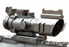 4X32 Sight Prismatic Rifle Scope,  Fiber Optic Sight & Tri-illuminated Recticle