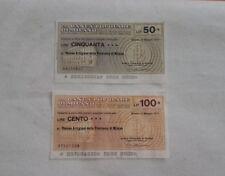 2 Miniassegni Banca Popolare di Milano L. 50 e L. 100 - qs Perfetti