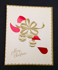 Embossed Red Candy Cane Vintage Mid-Century Xmas Card UNUSED Rhapsody in White