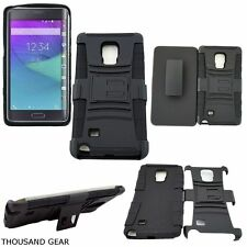 For Samsung Galaxy Note Edge Clip Holster Kickstand Hybrid Cover Case Black