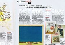Coupure de presse Clipping 2010 Tintin plus cher que l'or noir (2 pages)