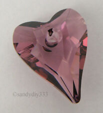 2x SWAROVSKI 6240 ANTIQUE PINK 12mm WILD HEART PENDANT CRYSTAL BEAD