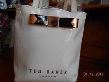 TED BAKERLONDON VINYL SHOPPER TOTE BAG PURSE CREAM COPPER BLACK BOW EUC