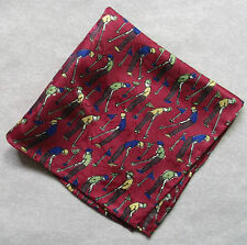 "ROLLED SILK NEW MENS TOP POCKET SQUARE HANKIE HANDKERCHIEF RED GOLF 10"" X 10"""