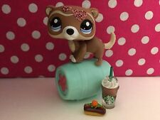 Littlest Pet Shop #  2287 Brown Ferret Sparkle W/Starbucks/Treats