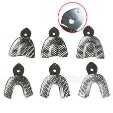 6Pcs New Dental Impression Trays Stainless Steel Autoclavable Metal Low Price