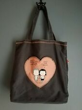 Angry Little Girls tote bag Does this Mean You Love Me? Cotton Canvas 14X12
