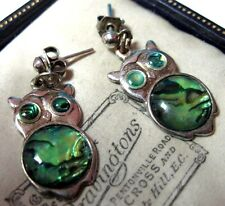 Pretty VINTAGE Costume Jewellery Green Abalone Shell OWL Drop EARRINGS