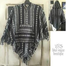 Hooded Fair Trade Tribal Wool Pocketed Triangle Fringed Blanket Poncho - Black