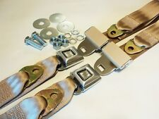 SUNBURST VINTAGE STYLE TAN SEAT BELTS MUSCLECAR HOTROD RESTOMOD GASSER KIT