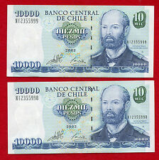 2 2002 CHILE 10,000 Peso Notes 157c AU Sequential Serial Number
