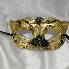 Masquerade / masked ball mask for men / women. Venetian. Ivory with black, gold