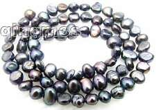 "Small 4-5mm Natural Black Freshwater BAROQUE Pearl Loose Beads 14"" strand-los456"