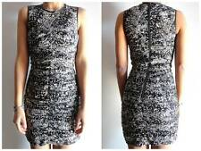 $49.95 New H&M Black White Cinched Dress Faux Leather Trim Sz 0 2 XS Extra Small