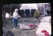 1960s Photo slide Lady with Toro Lawn mower Cutting Grass