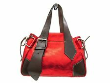 Auth Vivienne Westwood Hand bag Leather Red/Brown (BF302966)