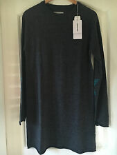 Zadig & Voltaire women 'Roller M' grey merino wool dress size:L 12 NEW Grey Z&V