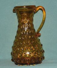 "Hobnail Pitcher-Amber Glass-Applied Handle-Hand Formed-9"" High x 5"" Diameter"