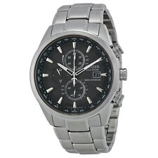 Citizen Eco-Drive World Chronograph A-T Black Dial Stainless Steel Mens Watch