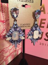 NWT Natasha Earrings Statement Dangle Blue Crystal Starburst