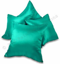 "Set of 4 Teal Blue / Turquoise Taffeta/Faux Silk 18"" Cushion Covers"