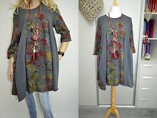 16 18 20 22 Italian Wendy Trendy Cotton Lagenlook Dress Tunic Pockets Flowers Gr