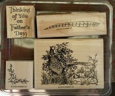 Stampin' Up PHEASANT THOUGHTS Set 4 Mounted Rubber Stamps Lot Father's Day RARE