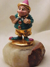 SIGNED RON LEE 1992 PAINTED BRONZE STATUE DWARF DOPEY CLOWN WAVE BUTTONS HAT