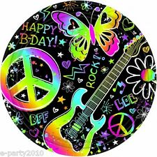 NEON DOODLE LARGE PAPER PLATES (8) ~ Birthday Party Supplies Lunch Dinner Peace