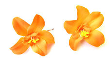 2 x Orange Orchid Flower Hair Grips Clips Bridesmaid Bobby Pins Slides 50s 2122