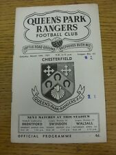 18/03/1961 Queens Park Rangers v Chesterfield  (Light Crease, Fold, Score Noted