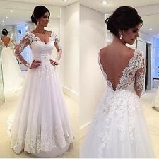 Deep V-Neck Lace Wedding Dresses Long Sleeve Open Back Bridal Gown With Train